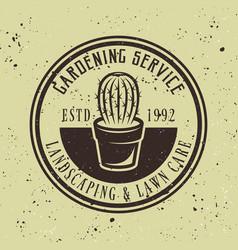 gardening service emblem with cactus vector image