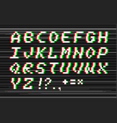 Glitch alphabet vector