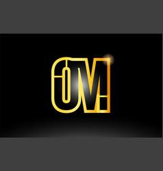 Gold black alphabet letter om o m logo vector