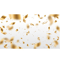Gold serpentine streamers ribbons and confetti vector