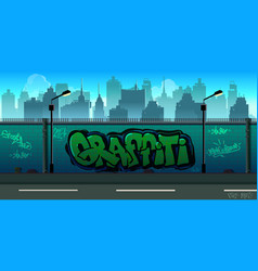 Graffiti wall background urban art vector