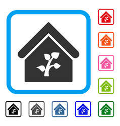 greenhouse building framed icon vector image