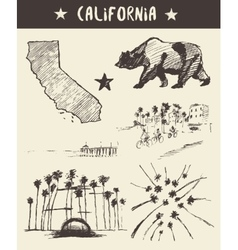 Hand drawn set of California state sketch vector