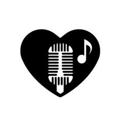 heart black is symbol retro microphone valentines vector image