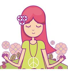 hippie cute cartoon vector image