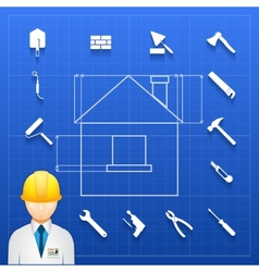 Home construction builder and tools icons vector image