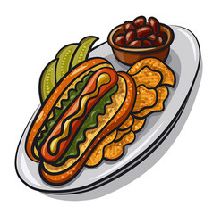 hot dog with chips vector image