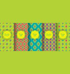 ikat seamless pattern set of traditional uzbek vector image