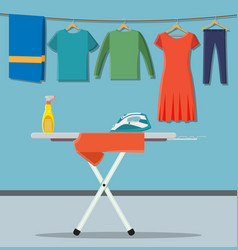 ironing board with laundry service icons vector image