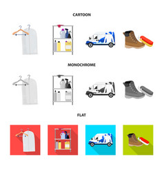 Isolated object of laundry and clean sign set of vector