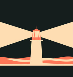 lighthouse in the sea beige and red color retro vector image