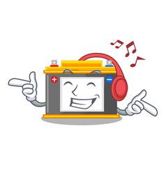 Listening music accomulator cartoon sticks on the vector
