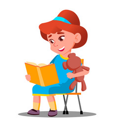 little beautiful girl reading a book with a soft vector image