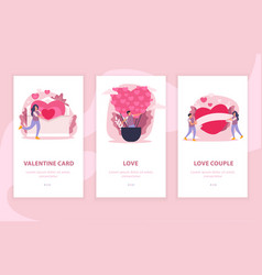 love couple flat composition banner set vector image