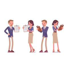 male and female office secretary with clipboard vector image