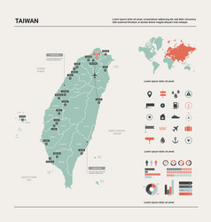 Map taiwan high detailed country map vector