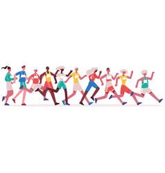 marathon running people jogging athletes group vector image