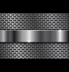 Metal perforated background with shiny chrome vector