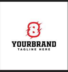 number eight logo template with scratch style vector image