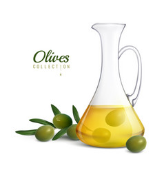 Olive oil realistic composition vector