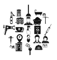 Painter icons set simple style vector