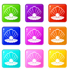 pearl in a sea shell icons 9 set vector image