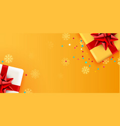 present golden box with red ribbon holiday card vector image