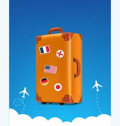 realistic traveler luggae - vintage suitcase vector image