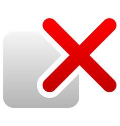 Red cross over square delete remove incorrect icon vector
