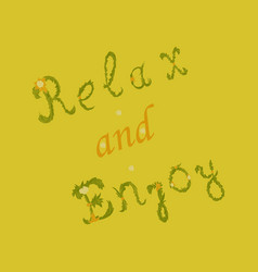 Relax and enjoy card summer lettering vector