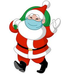 santa with medical mask and gift sack vector image