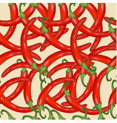 seamless background of red hot pepper vector image