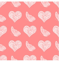 Seamless pattern from white heart and butterfly vector