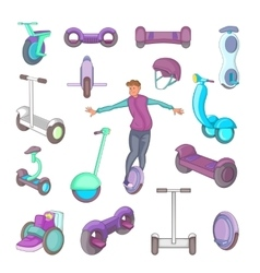 Self balancing scooter icons set cartoon style vector