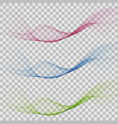 set abstract color wave smoke transparent blue vector image
