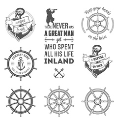 set nautical labels icons and design elements vector image