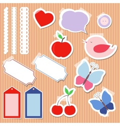 Set of cute scrapbook elements vector image