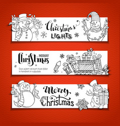 Set of doodles horizontal christmas banners vector