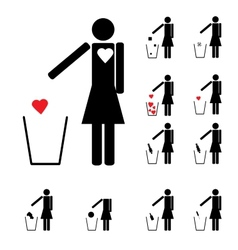 set of eleven woman figures throwing in the trash vector image