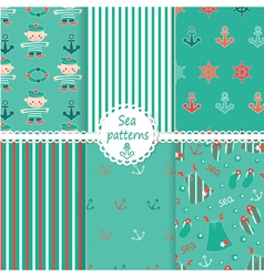 Set of sea patterns vector