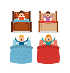 set of wake up people differents bed and arms up vector image