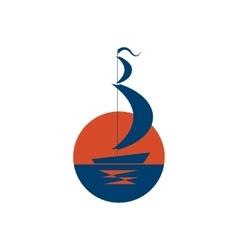 Ship logo sailboat icon on sea at sunset vector