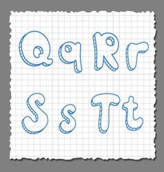 sketch 3d alphabet letters - QRST vector image