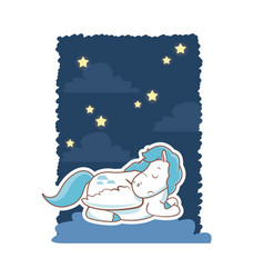 Sleeping cute unicorn night background poster vector