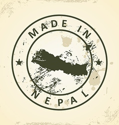 Stamp with map of Nepal vector image