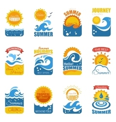 Summer Label Set With Wave And Sun vector