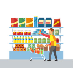 Supermarket store worker merchandising vector
