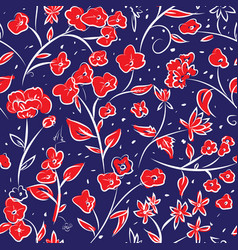 Tiny spring flowers doodle drawing pattern vector