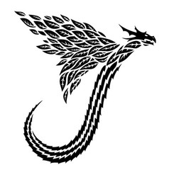Tribal tattoo art with flying dragon silhouette vector