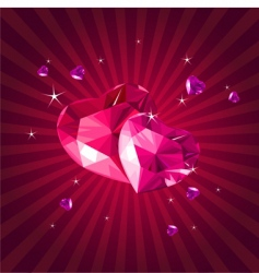 valentine card with crystal hearts vector image